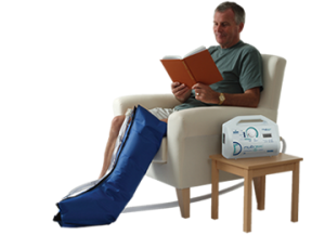 Compression Therapy Using pneumatic pumps at Encompass HealthCare & Wound Medicine, West Bloomfield, Michigan.