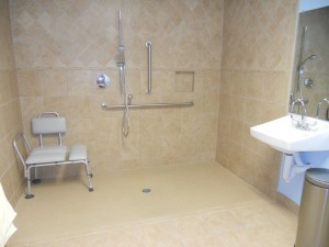We feature hospital-level amenities like our roll-in shower.
